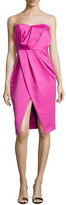 Camilla And Marc Strapless Pleated Sweetheart Cocktail Dress, Hot Pink