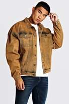 BoohoomanBoohooMAN Mens Orange Drop Shoulder Oversized Denim Jacket In Acid Wash, Orange