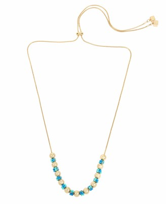 Kenneth Cole Women's Turquoise Woven Seed Bead Cluster Adjustable Slider Necklace One Size