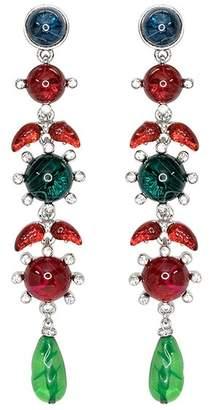 Kenneth Jay Lane Sapphire, Ruby Emerald Drop Pierced Earrings