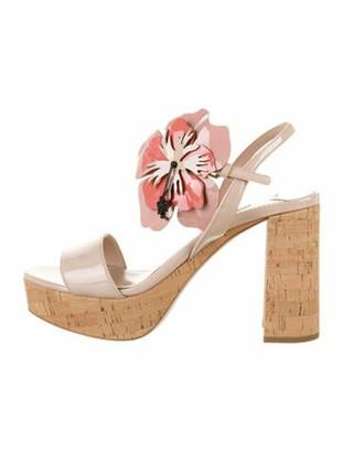Miu Miu Floral-Accented Patent Leather Sandals Pink