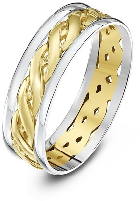 Theia Unisex Highly Polished Court Shape Celtic 6 mm 9 ct White and Yellow Gold Wedding Ring - Size K