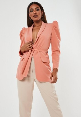 Missguided Puff Sleeve Belted Blazer
