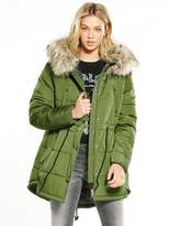 Replay Faux Fur Trim Padded Parka