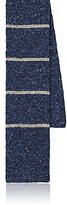 Alexander Olch Men's Striped Wool-Cotton Necktie-BLUE, BEIGE, WHITE, BROWN