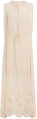 See by Chloe Gathered Broderie Anglaise-trimmed Crepe De Chine Midi Dress