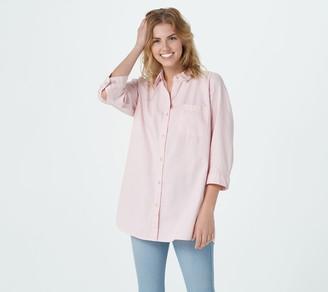 Joan Rivers Classics Collection Joan Rivers Denim Shirt with Buttoned Yoke Detail