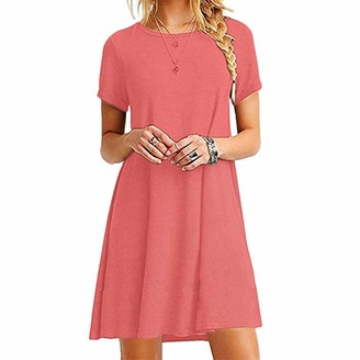 Villavivi Women's Long Shirt Mini Loose Summer Dress Basic Casual T-Shirt Dress (Watermelon red L)
