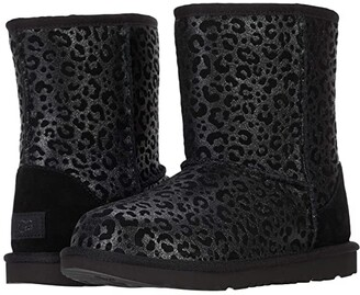 Ugg Kids Classic II Glitter Leopard (Little Kid/Big Kid) (Black) Girls Shoes