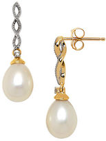 Lord & Taylor 7MM White Pearl, Diamond and 14K Yellow Gold Drop Earrings