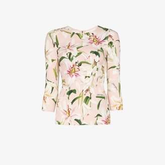 Dolce & Gabbana lily print cady top