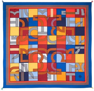 Tory Burch Cube Logo Silk Square Scarf