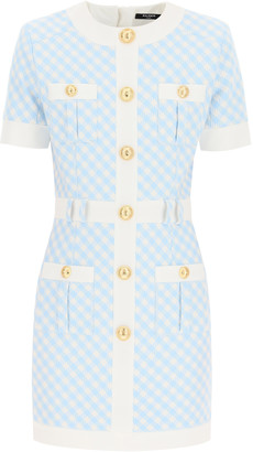 Balmain GINGHAM CHECK MINI DRESS WITH GOLDEN BUTTONS 36 Light blue, White Cotton