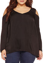Bisou Bisou Long Sleeve Woven Blouse-Plus