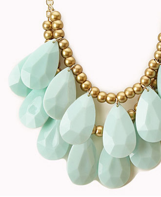 Forever 21 Layered Faux Stone Fringe Necklace