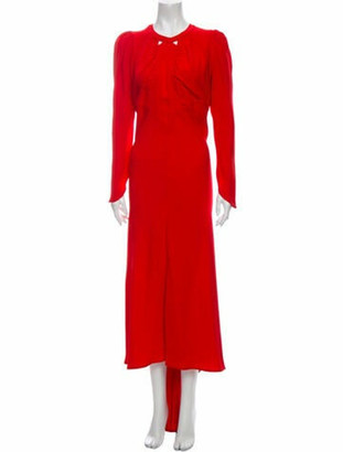 ATTICO Crew Neck Long Dress Red