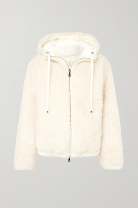 Moncler Reversible Hooded Faux Shearling Quilted Down Jacket - White