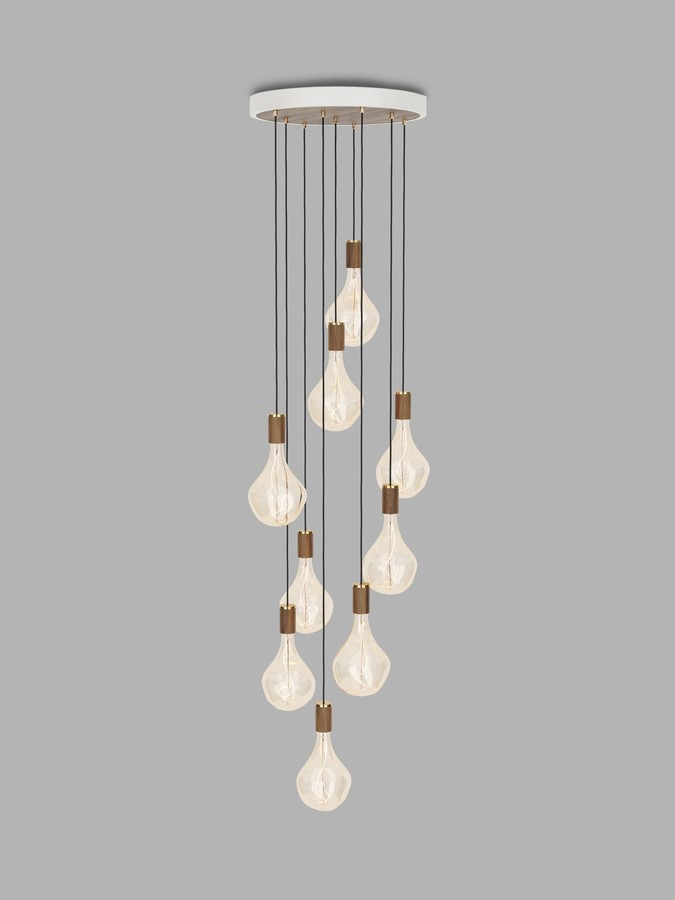 Tala Walnut Nine Pendant Cluster Ceiling Light with Voronoi II 3W ES LED Dimmable Tinted Bulbs, White