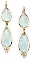 Temple St. Clair Aquamarine, Diamond & 18K Yellow Gold Double-Pear Drop Earrings