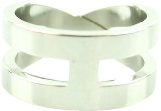 Hermes Anneau de Foulard Silver Synthetic Scarves