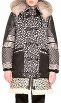 Altuzarra Smyrna Mixed-Print Coat W/Fur Collar, Black/Natural White