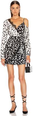 Self-Portrait Leopard Printed Wrap Dress in Cream & Black   FWRD