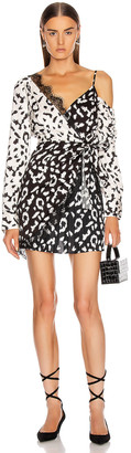 Self-Portrait Self Portrait Leopard Printed Wrap Dress in Cream & Black | FWRD
