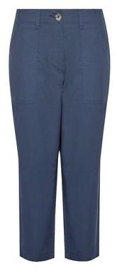 Dorothy Perkins Womens Dp Petite Navy Poplin Crop Trousers