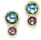 Marco Bicego 18K Yellow Gold Jaipur Two Stone Earrings with Blue Topaz and Amethyst