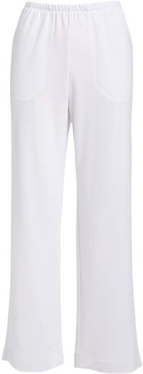 Fresh Produce Women's Casual Pants WHT - White Side-Pocket Wide-Leg Pants - Women