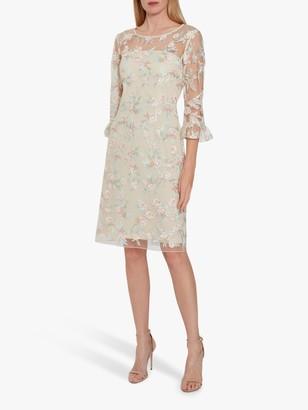 Gina Bacconi Armina Floral Embroidery Crepe Dress, Champagne/Multi