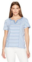 Alfred Dunner Women's Petite Spliced Stripe, Split Collar, S/S
