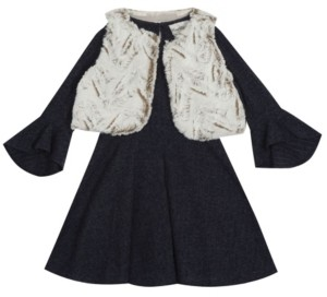 Rare Editions Little Girl Sweater Knit Dress With Faux Fur Vest