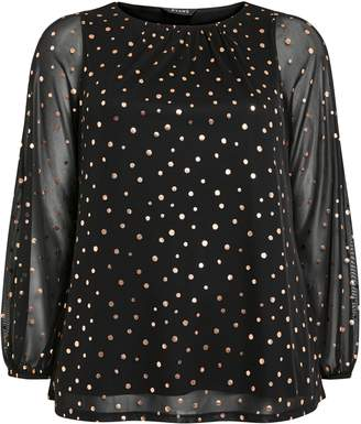 Evans Black Mesh Metallic Polka Dot Top