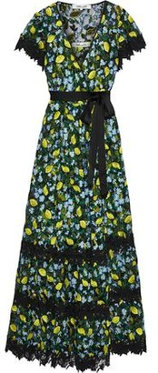 Diane von Furstenberg Victorious Guipure Lace-trimmed Embroidered Tulle Wrap Gown