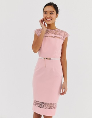 Paper Dolls lace detail midi dress with belt in white-Pink