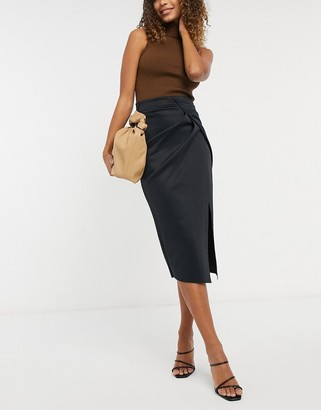 ASOS DESIGN wrapped scuba midi pencil skirt in black