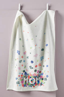 Anthropologie Mom Embroidered Dish Towel