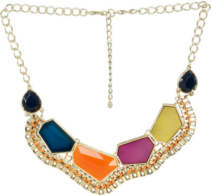 Arden B Multi Stone & Box Chain Bib Necklace