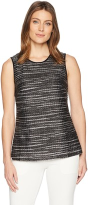 Kasper Women's Textured Knit Double U-Neck Tank