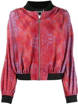 Just Cavalli snakeskin print bomber jacket