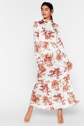 Nasty Gal Womens On a High Neck Floral Maxi Dress - White - 6