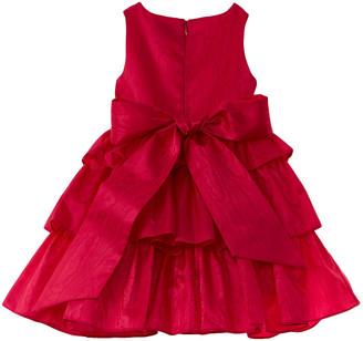 Oscar de la Renta Moire Faille Tiered Silk-Lined Dress