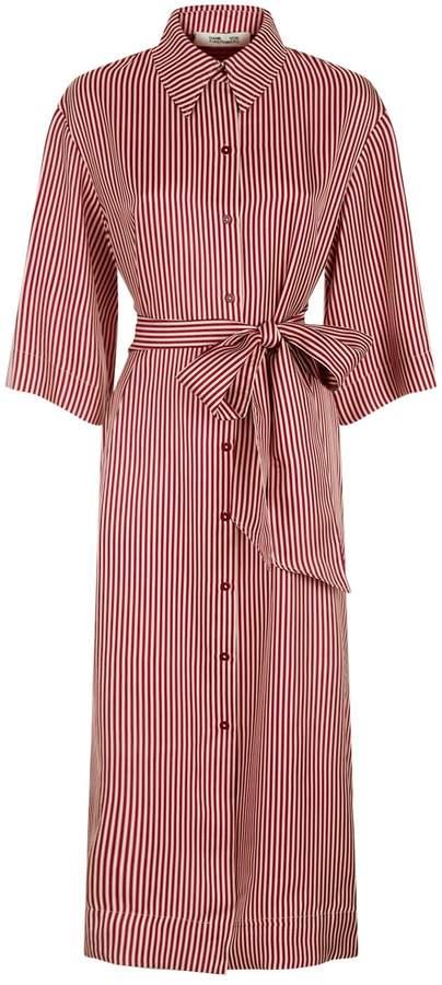 Diane von Furstenberg Striped Silk Shirt Dress