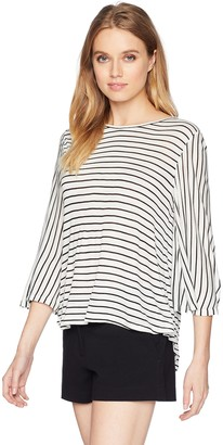 BCBGMAXAZRIA Women's Long Sleeve Open Back Stripe Top