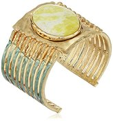 """lonna & lilly Pacific Tides"""" Worn Gold-Tone Large Stone Cuff Bracelet"""