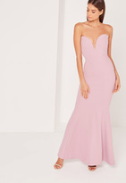 Missguided Scuba Bandeau Fishtail Maxi Dress Purple
