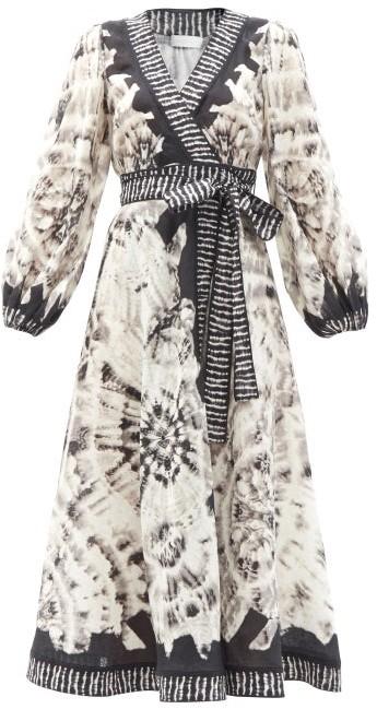 Zimmermann Lulu Tie-dye Linen Midi Wrap Dress - Black White