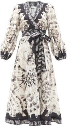 Zimmermann Lulu Tie-dye Linen Midi Wrap Dress - Black White