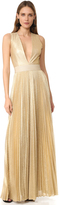 Alice + Olivia Carisa Sunburst Pleated Gown